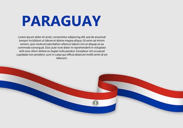 Vlag van paraguay vlag zwaaien Premium Vector