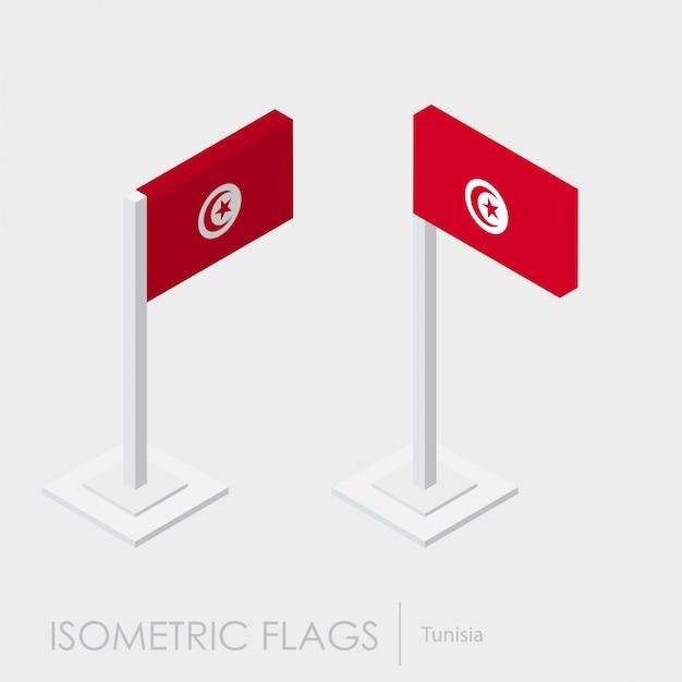 Vlag van tunesië 3d isometrische stijl Gratis Vector