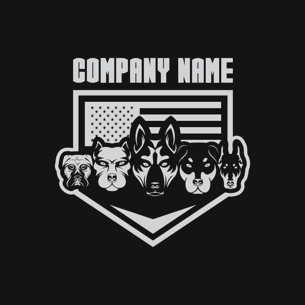 Vlag van vijf honden usa vectorillustratie Premium Vector