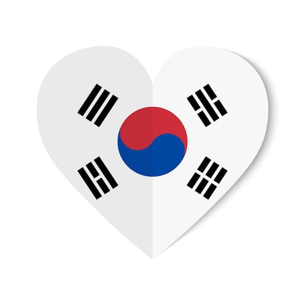 Vlag van zuid-korea met origamistijl op witte breuk Premium Vector