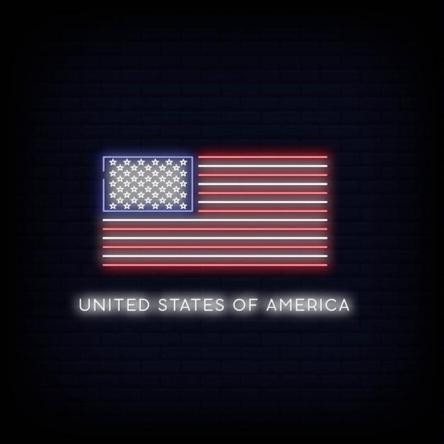 Vlag verenigde staten van amerika neon teken Premium Vector