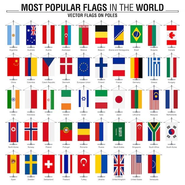 Vlaggen op palen, populairste wereldvlaggen Premium Vector