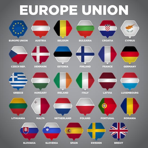 Vlaggen van de europese unie Premium Vector