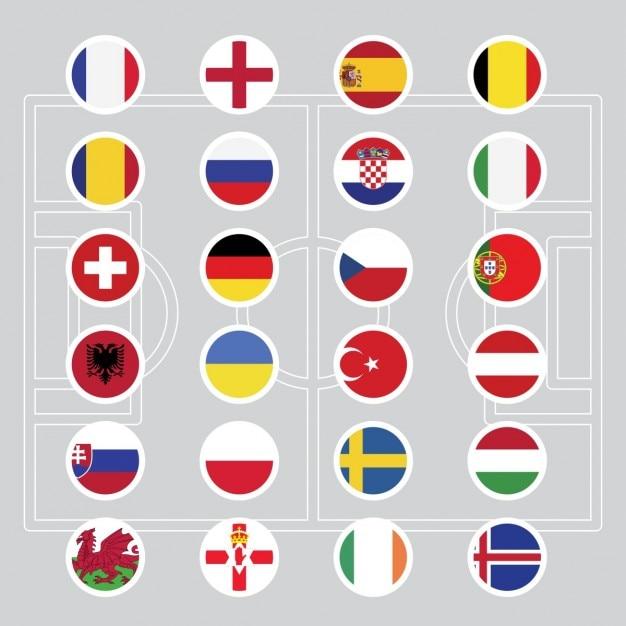Vlaggen van euro 2016 voetbal Gratis Vector