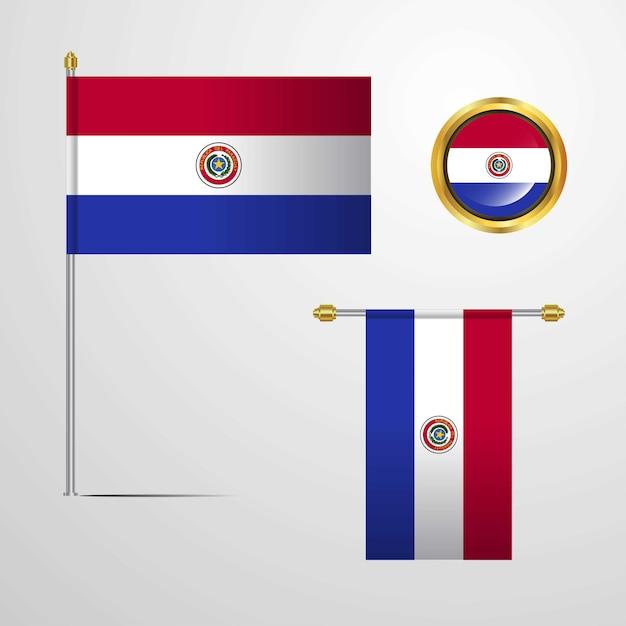 Vlaggenontwerp van paraguay met kentekenvector Premium Vector