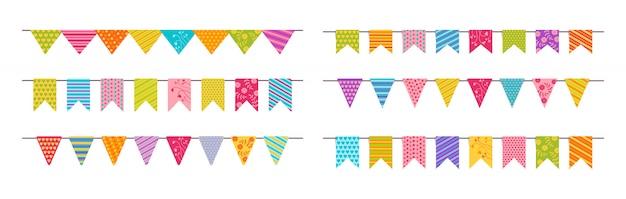 Vlagslinger bunting verjaardagsfeestje flat set. Premium Vector