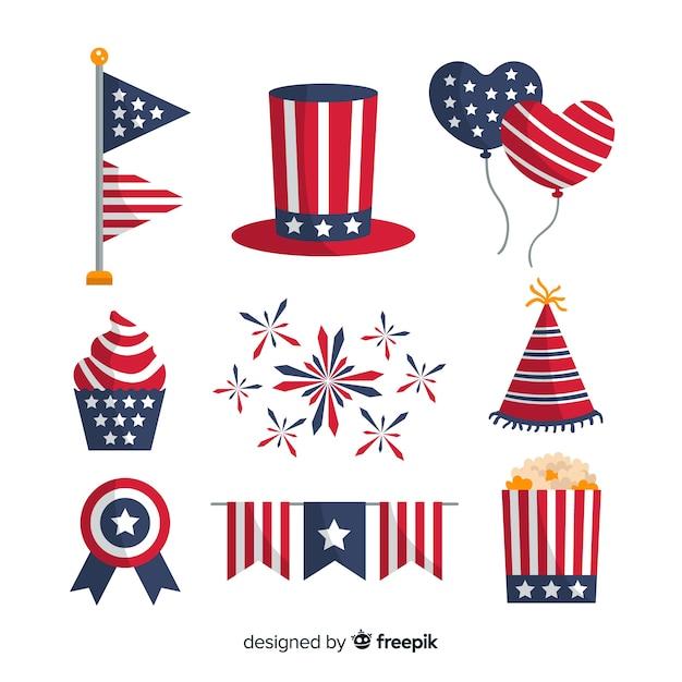 Vlak 4 juli - verzameling van onafhankelijkheidsdagelementen Gratis Vector