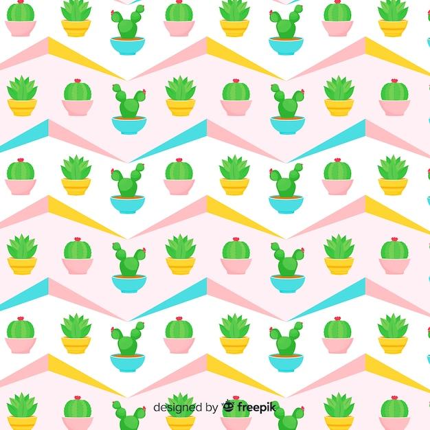 Vlak cactuspatroon Gratis Vector