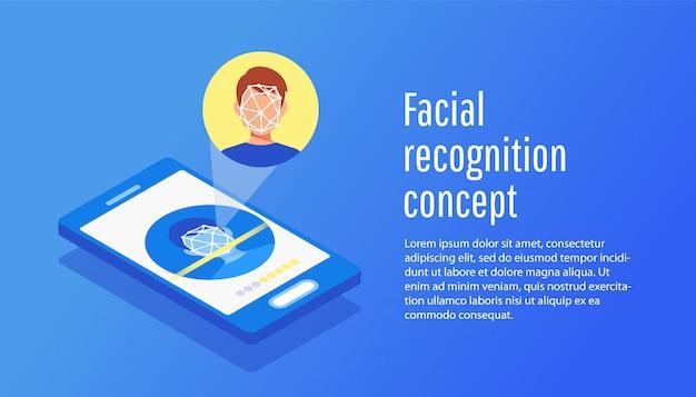 Vlak concept gezichtsidentificatie van de jonge mens. Premium Vector