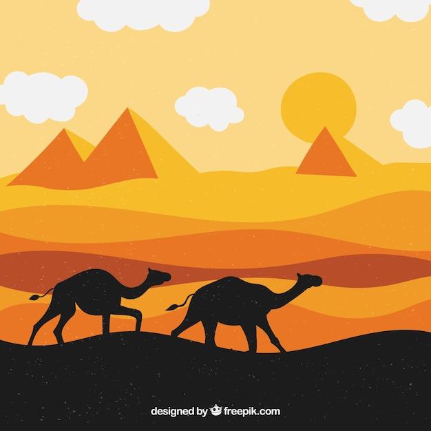 Vlak de piramideslandschap van egypte met caravan van kamelen Gratis Vector