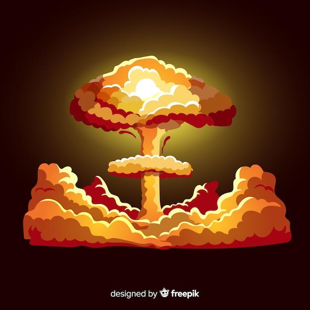 Vlak helder kernexplosie-effect Gratis Vector