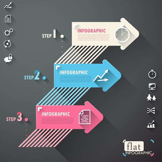 Vlak infographic ontwerp met lijnen, pijlen en pictogrammen Premium Vector