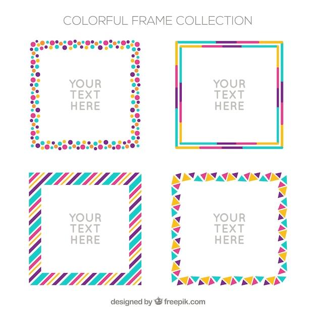 Vlak kleurrijk frame Gratis Vector