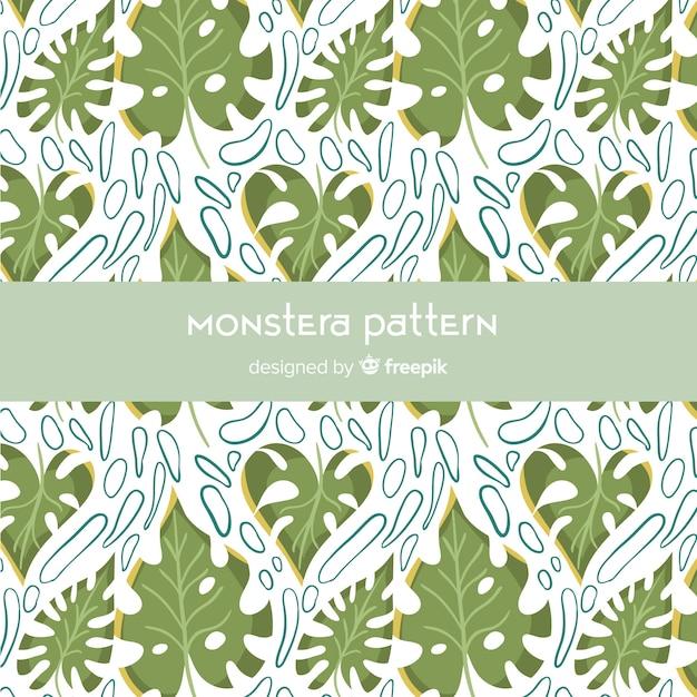 Vlak monstera-patroon Gratis Vector