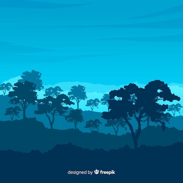 Vlak natuurlijk landschap met bomen Gratis Vector