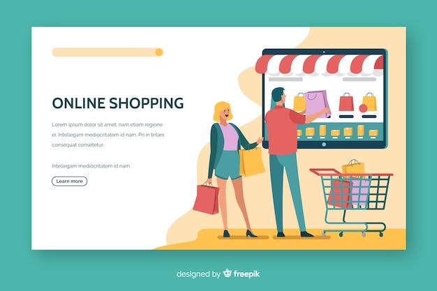 Vlak ontwerp met bestemmingspagina voor online winkelen Gratis Vector