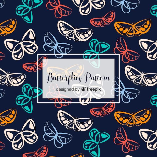 Vlak patroon met vlinders Gratis Vector