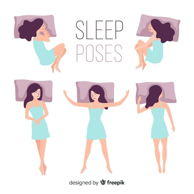 Vlak persoon in verschillende slaapposities Gratis Vector
