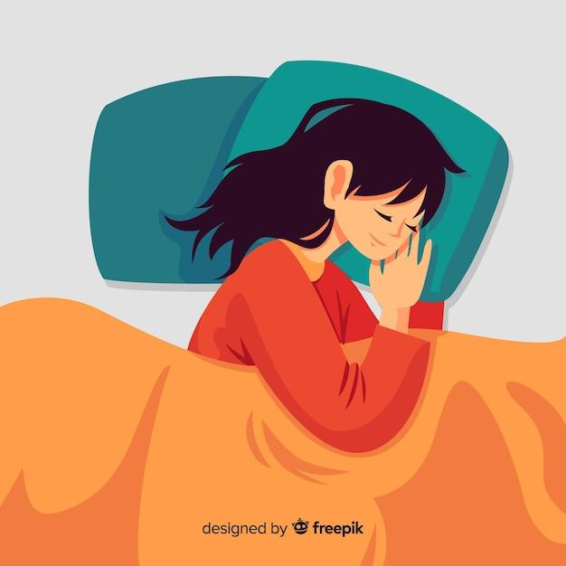 Vlak persoon slapen in bed Gratis Vector