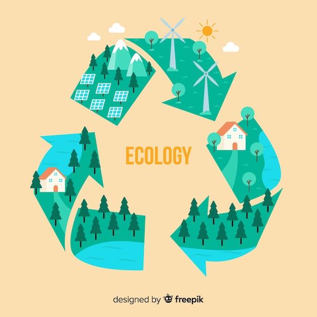 Vlak recyclingssymbool met groene gebieden Gratis Vector