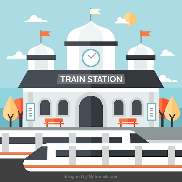 Vlak treinstation met moderne treinen Gratis Vector