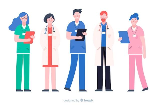 Vlak verpleegkundig team Gratis Vector