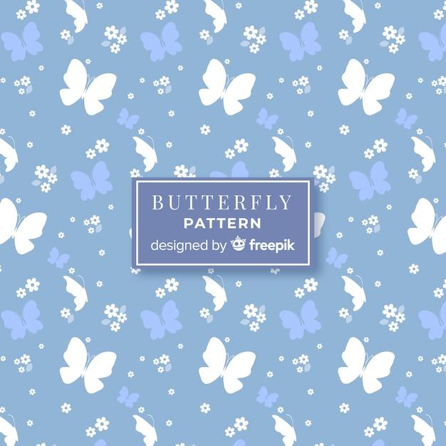 Vlak vlinderpatroon Gratis Vector