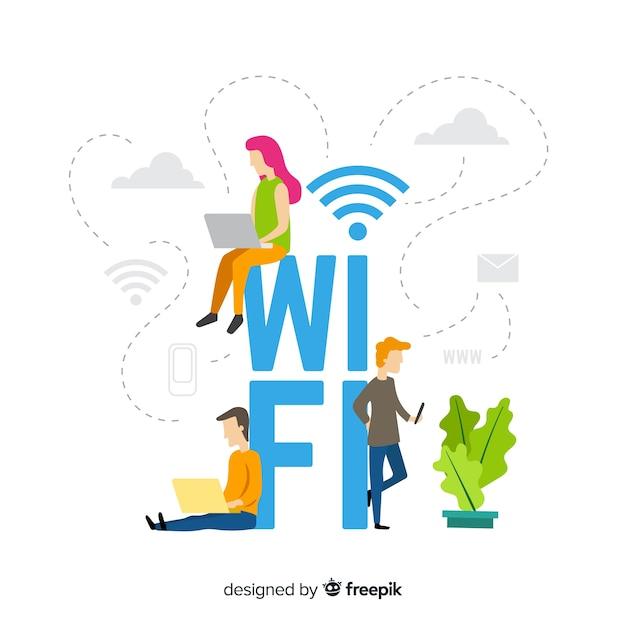 Vlak wifi-gebiedsconcept met signaal Gratis Vector