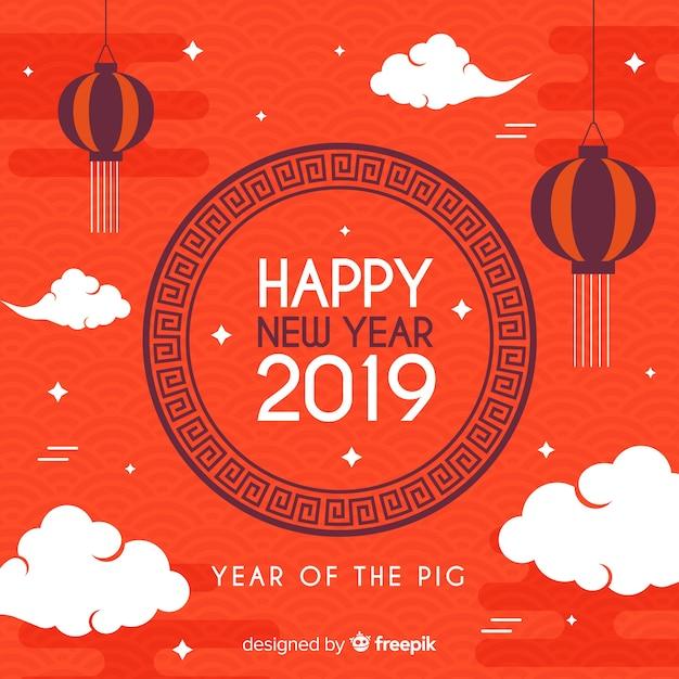 Vlak wolken chinees nieuw jaar bakcground Gratis Vector