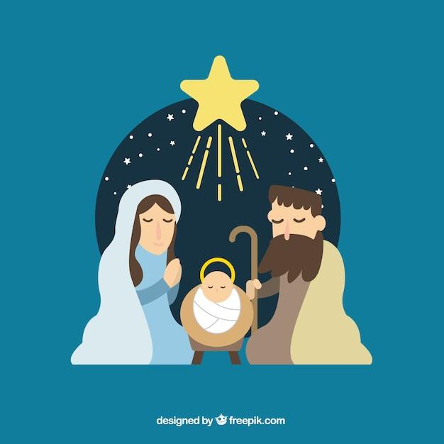 Vlakke achtergrond van de kerststal Gratis Vector