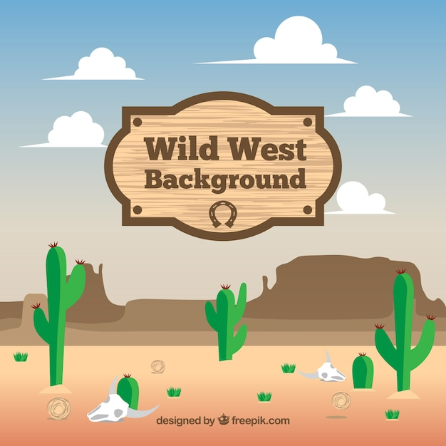 Vlakke achtergrond van het wilde westen met groene cactus Gratis Vector