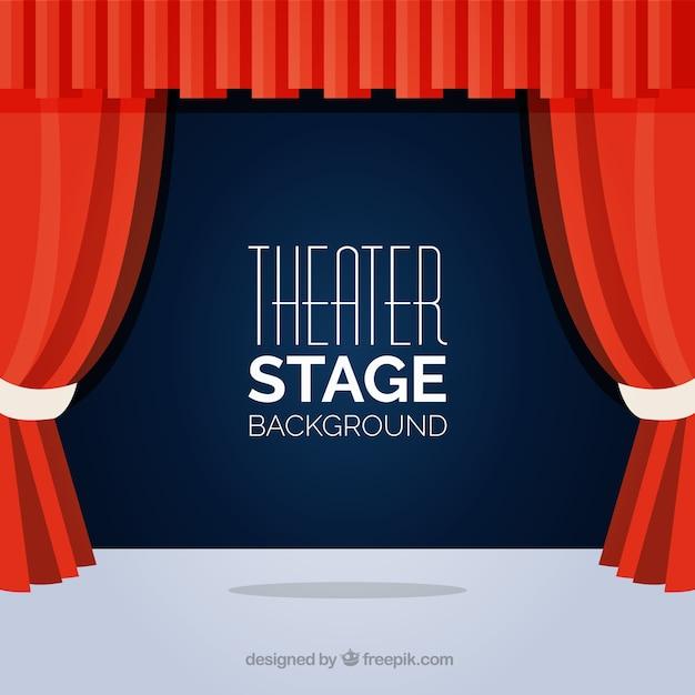 vlakke achtergrond van theater podium met rode gordijnen gratis vector