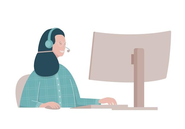 Vlakke afbeelding met vrouw die werkt in een callcenter. Premium Vector