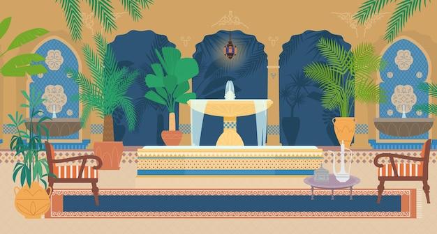 Vlakke afbeelding van arabische paleistuin met fonteinen, tropische planten, bogen, lantaarns, fauteuils, tafel met zilveren theepot, tapijt. Premium Vector