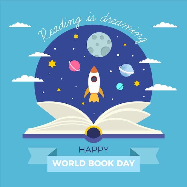 Vlakke afbeelding van de wereldboekdag Gratis Vector