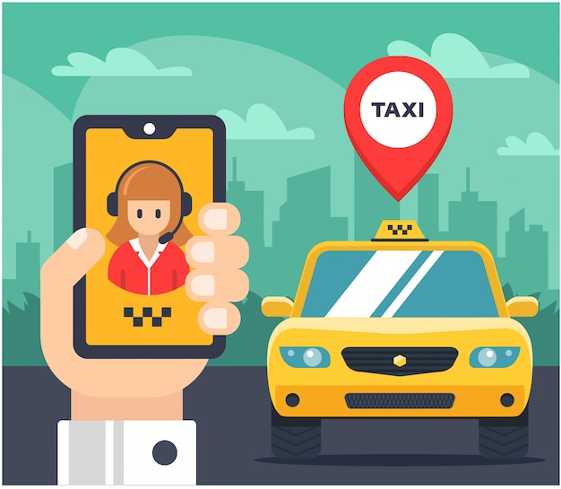 Vlakke afbeelding van een taxi-bestelling. auto getagd. de hand houdt de telefoon vast en spreekt met de taxi-operator. Premium Vector