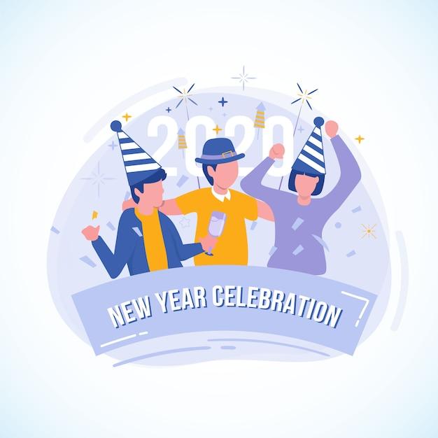 Vlakke afbeelding van feest met vrienden voor de viering van het nieuwe jaar Premium Vector
