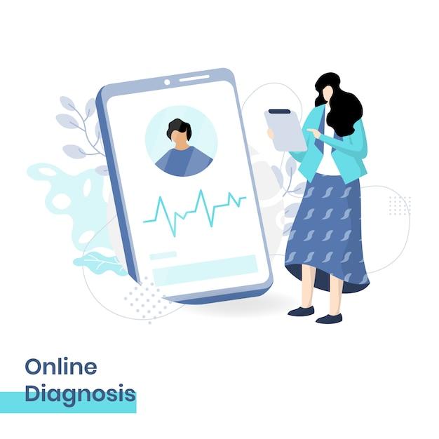 Vlakke afbeelding van online diagnose, het concept van een vrouwelijke arts die patiëntdiagnoses biedt via smartphone Premium Vector