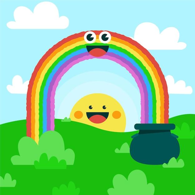 Vlakke afbeelding van smiley regenboog Gratis Vector