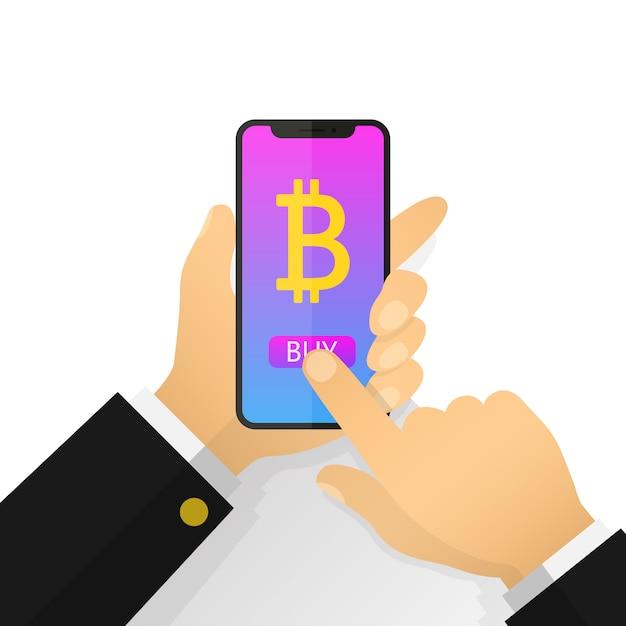 Vlakke afbeelding zakenman hand met een smartphone met bitcoins op het scherm. koop bitcoins, mijnbouw. Premium Vector