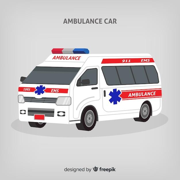 Vlakke ambulance concept Gratis Vector