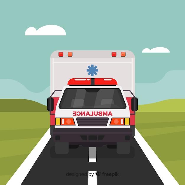 Vlakke ambulance Gratis Vector