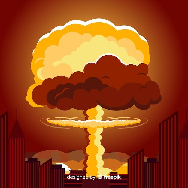 Vlakke atoombom in een stad Gratis Vector
