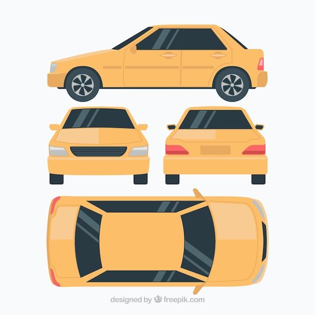 Vlakke auto in verschillende uitzichten Gratis Vector