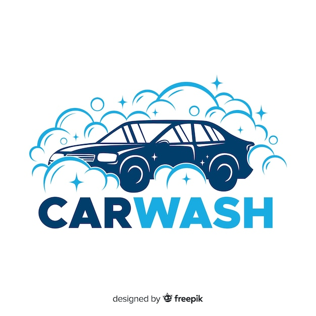 Vlakke blauwe car wash logo Gratis Vector