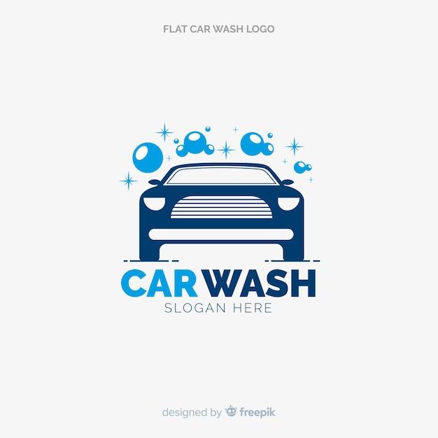 Vlakke blauwe car wash logo Premium Vector