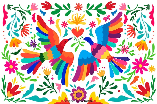Vlakke borduurwerk mexicaanse bloemenachtergrond Premium Vector