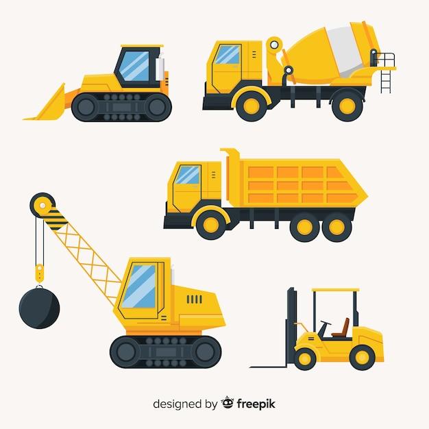 Vlakke bouwwagens collectio Gratis Vector