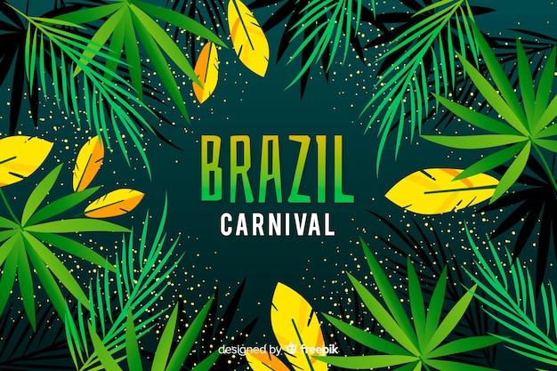 Vlakke Braziliaanse Carnaval-achtergrond Gratis Vector