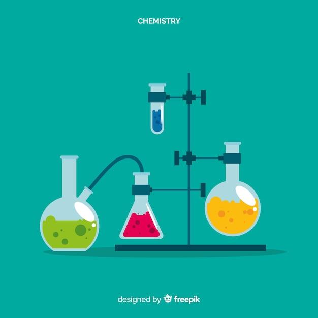 Vlakke chemie laboratorium met kolven Gratis Vector
